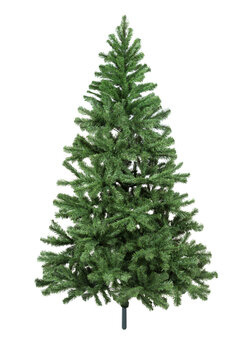 Artificial fir tree closeup on white background