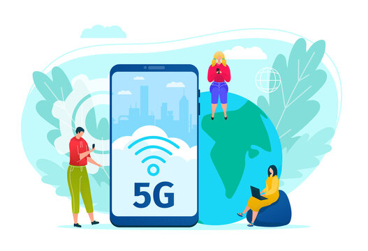 5g internet technology vector illustration. Global data connection and communication. People with mobile devices are sitting around big phone with 5G wireless network. High speed of new generation.