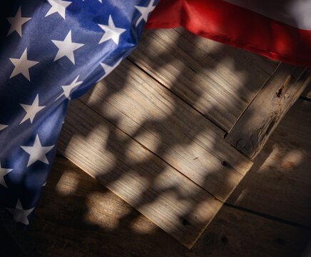 Wooden Rustic Background with American Flag and Stars