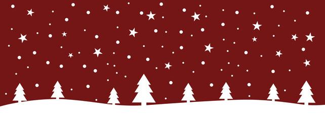 Photo sur Plexiglas Bordeaux Roter Banner mit Schneelandschaft für Weihnachten