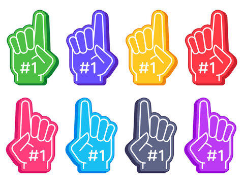Fan foam fingers. Color sports glove with number one, stadium supporter pride accessory, american football cute souvenir vector set. Illustration foam finger for fan sport, supporter accessory