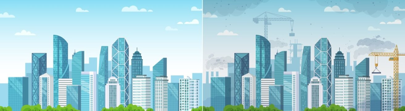 Clean and polluted city. Pollution and environment, ecology and clean area compare with dust town construction. Vector illustration