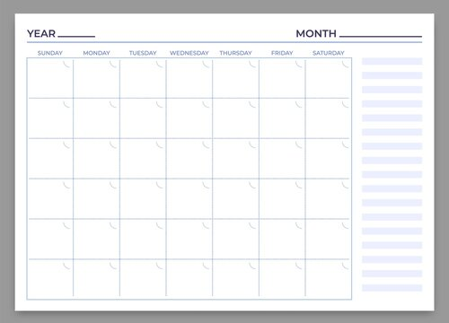 Monthly planner template. Vector month and week plan, calendar daily, time weekly stationery print to work illustration