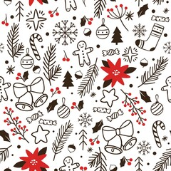 Wall Mural - Hand drawn winter seamless pattern. Vector sketch wrapping for xmas greeting, backdrop and wallpaper with snowflake ball and tree illustration