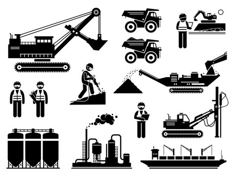 Mining quarry site workers and heavy machinery icons set. Vector illustrations of engineers, excavator, dump truck, mine plant infrastructure.