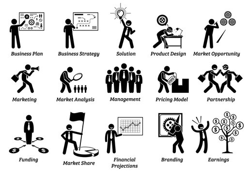 Business plan stick figure icons set. Vector illustrations concept of business planning that includes strategy, design, analysis, management, partners, funding, financial projections, and earnings.