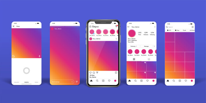 Instagram mobile App mock up template on smartphone mockup