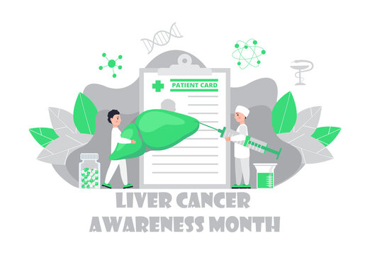 Liver cancer awareness month concept. Tiny doctors treat the liver. Trendy background vector for for website and mobile website development