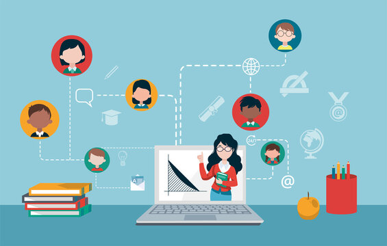 Vector of a teacher and group of children studying online