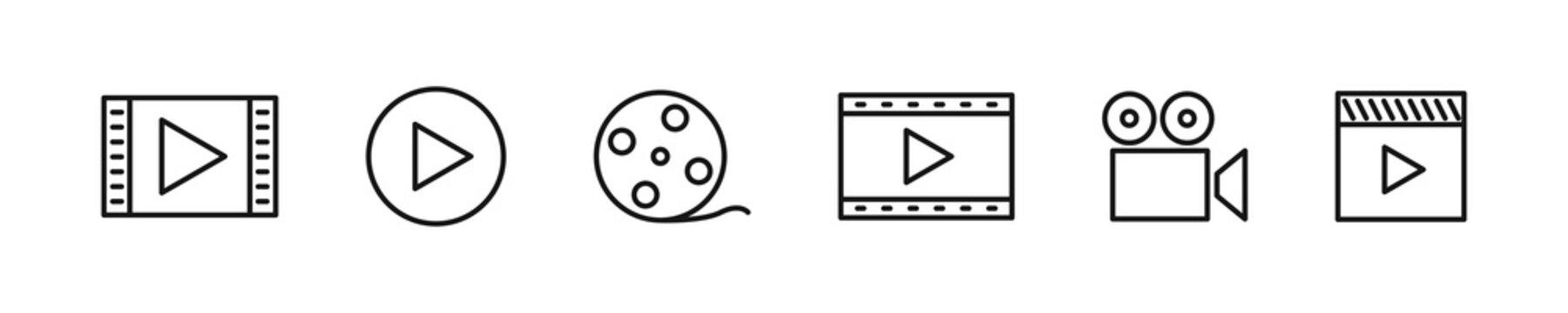 Video play button set. Vector playback icon collection.