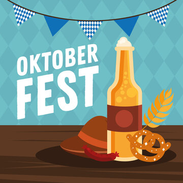 oktoberfest beer bottle pretzel sausage and hat with banner pennant vector design