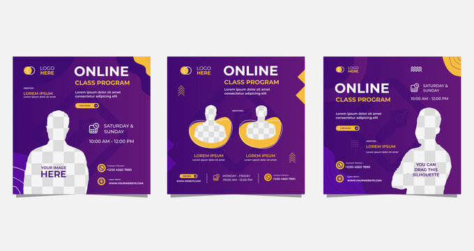 Set of social media post template for Online class program, Online Education, and other E-Learning. with Purple and Yellow background