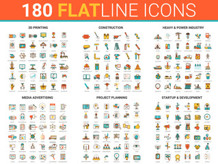 Flat thin line icon vector illustration with 3d printing development, heavy power manufacturing industry and construction, media advertising planning, startup project developing technology outline set