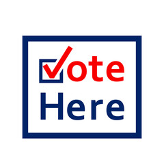 Vote here sign. Clipart image.