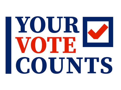 Your Vote Counts design. Clipart image.