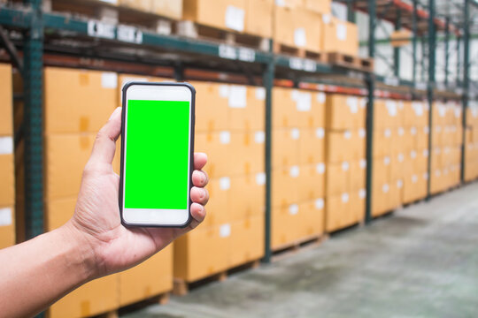 Free space on the smartphone screen with warehouse background, For your warehouse ideas