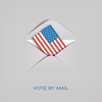 Vote by mail in US presidential election vector concept. American flag in envelope. Cast ballot, distant voting.