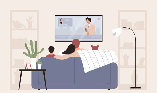 Family people watching tv vector illustration. Cartoon flat mother, father and kids characters sit on sofa in home living room interior, watch television news program, happy family time background