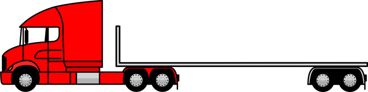 Truck with open platform - platform semi trailer - Flatbed open - Container Flatbed semi trailer - 6x2 - american - icon - profile - vector - red