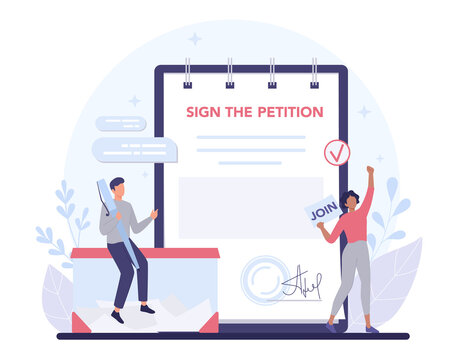 Petition concept. Collective public appeal document. Signing