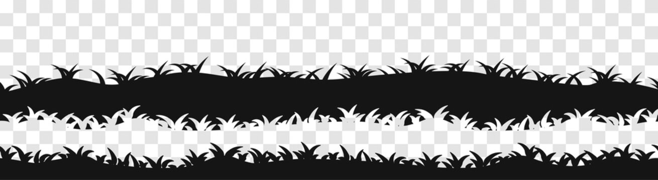 Set of panoramic seamless grass black silhouette. Vector illustration for footer and design isolated on transparent background.