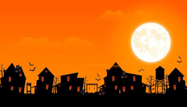 Halloween 2020. City panorama in halloween style. Scary halloween isolated background. Orange and yellow background. Vector illustration.
