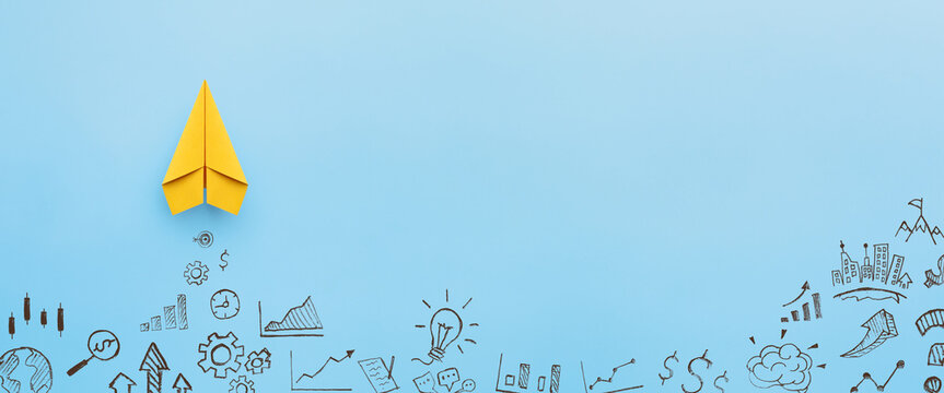 Paper plane and business strategy on blue background, Business success, innovation and solution concept with copy space
