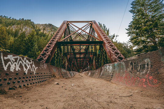 Repurposed railroad bridge over the river