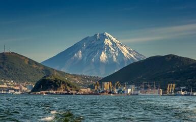 View of the city Petropavlovsk-Kamchatsky, Avacha Bay and Koryaksky volcano, Russian Far East, Kamchatka Peninsula
