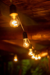 Evening lighting with an electric garland with warm lamp light.