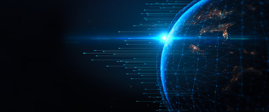 Concept of communication network technology for internet business. World of global network and telecommunication on earth cryptocurrency,IoT and blockchain. Elements of this image furnished by NASA.