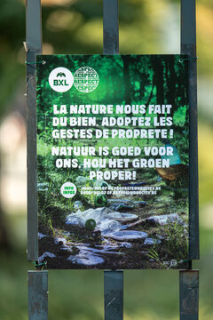 Brussels, Belgium - September 14, 2020: details of a poster promoting respect for nature and limiting pollution
