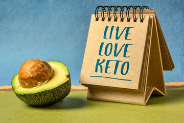 live, love keto, high fat ketogenic diet concept - word abstract in in sketchbook tablet with cut avocado fruit