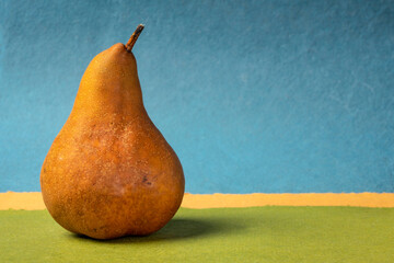 fresh bosc pear against abstract paper landscape, still life