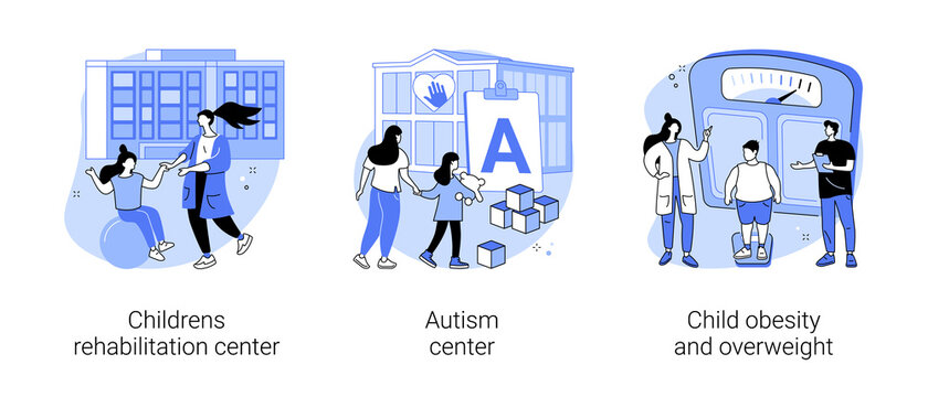 Children healthcare service abstract concept vector illustration set. Childrens rehabilitation center, autism center, child obesity and overweight, special needs pediatric help abstract metaphor.
