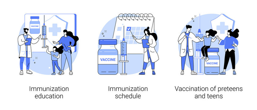 Public health program abstract concept vector illustration set. Immunization education and schedule, vaccination of teens, children vaccination calendar, infectious disease abstract metaphor.