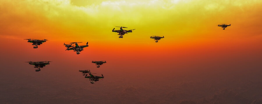 group of drones in the sky