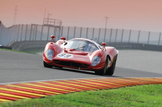 MUGELLO, IT, November, 2008: Unknown run with Historic 1967 Ferrari 330 P4 during Finali Mondiali Ferrari 2008 into the mugello circuit in italy.