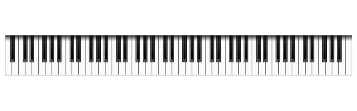 Realistic 88 piano keys, vector illustration