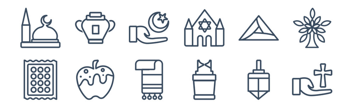 12 pack of icons. thin outline icons such as christianity, ark of the convenant, apple and honey, hamantaschen, islam, manna jar for web and mobile apps, logo