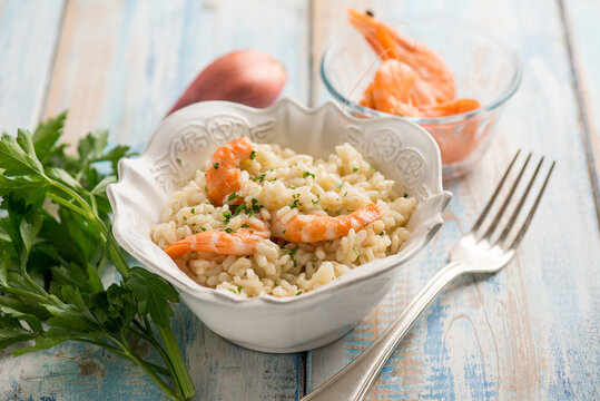 shrimp risotto with champagne