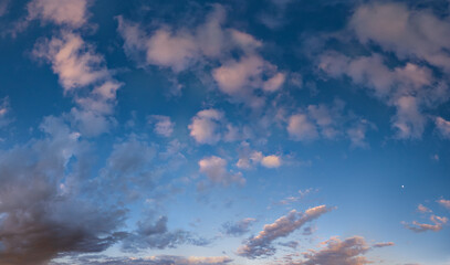 Summer sunset sky panorama with fleece colorful clouds. Evening dusk good weather natural background.