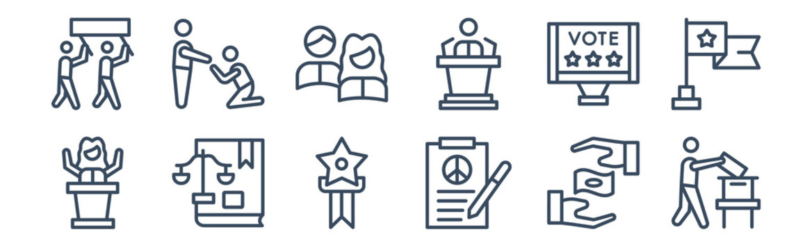 12 pack of icons. thin outline icons such as man holding the vote paper on the box, peace treaty, political balance, political publicity on monitor screen, politicians, slavery for web and mobile