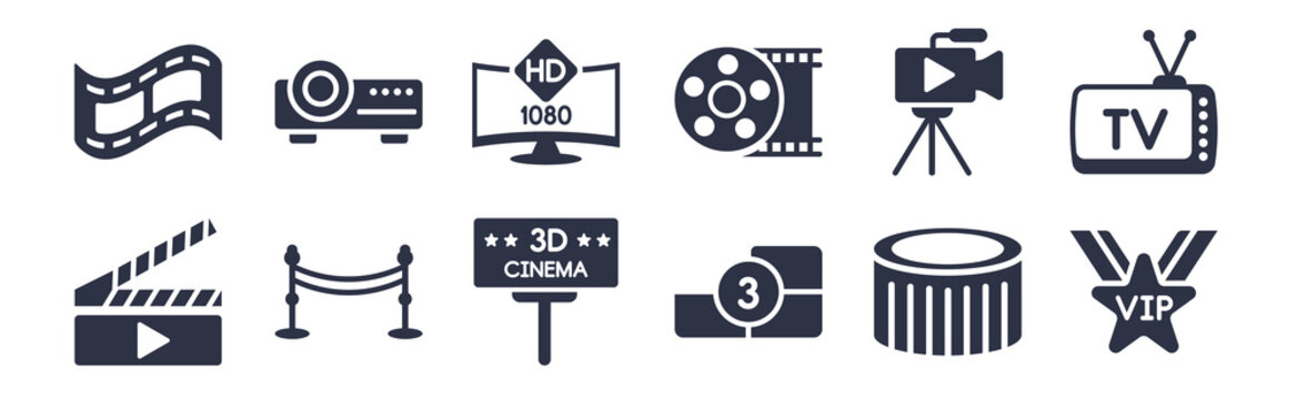 12 pack of black filled icons. glyph icons such as vip person, film counter, cinema borders, movie camera, movie roll, 1080p hd tv, image projector for web and mobile apps, logo