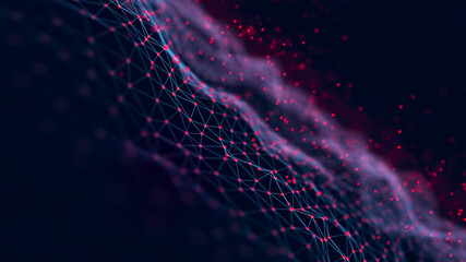 Connected polygons in a geometric background. Cybernetic particles network connection 3d rendering.