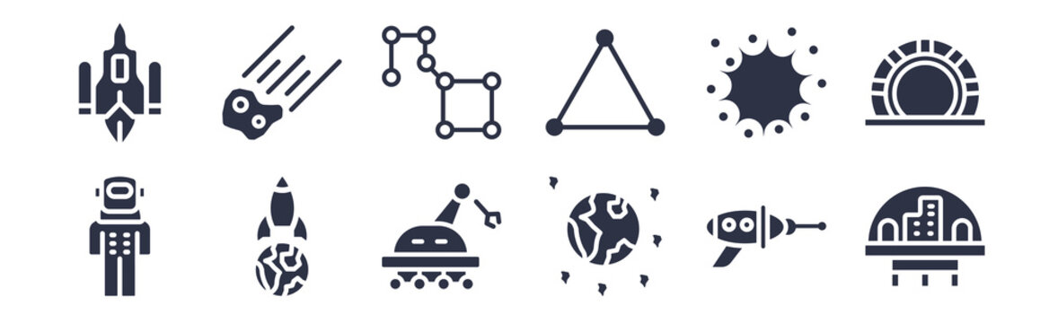 12 pack of black filled icons. glyph icons such as space colony, space junk, space travel, supernova, triangulam australe, ursa major, aerolite for web and mobile apps, logo