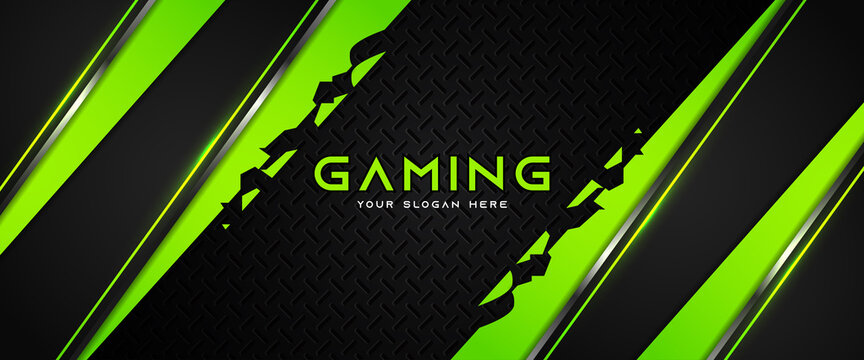 Futuristic green and black abstract gaming banner design with metal technology concept. Vector illustration for business corporate promotion, game header social media, live streaming background