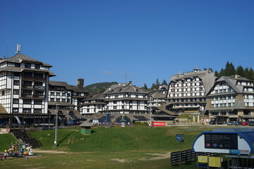 September 12th 2020, Kopaonik Serbia: Ski center in summer day scenic view on the grand hotels on the mountain range famous tourist center
