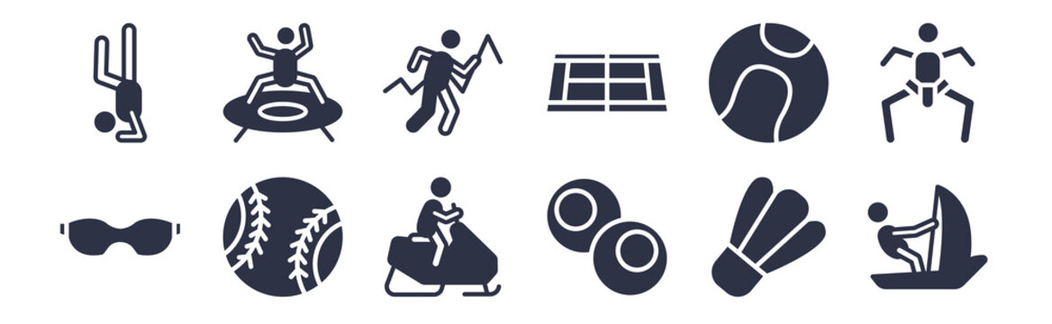 12 pack of black filled icons. glyph icons such as sailboat sport, snooker, softball, tennis ball, tennis court, trail running, trampolining for web and mobile apps, logo
