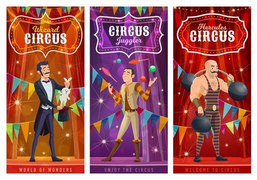 Circus performers vector banners. Big top artists illusionist, juggler and strongman cartoon characters on big top tent arena with show performance. Wizard perform circus stunt with rabbit in hat